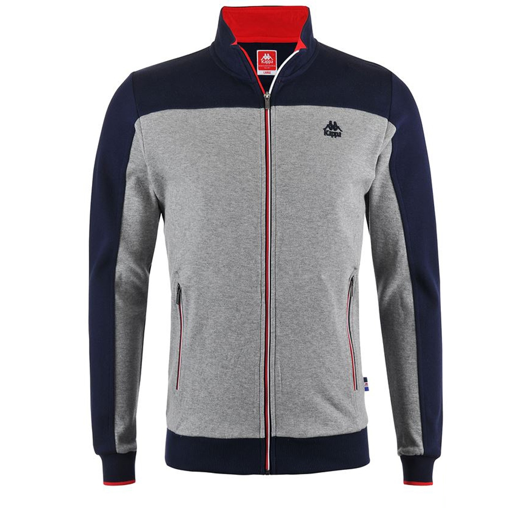 KAPPA義大利時尚型男慢跑SLIM FIT運動外套合身版-灰-藍