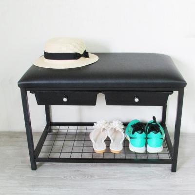 Amos-高收納機能二抽軟墊穿鞋椅/鞋架-寬67x深41x高44cm
