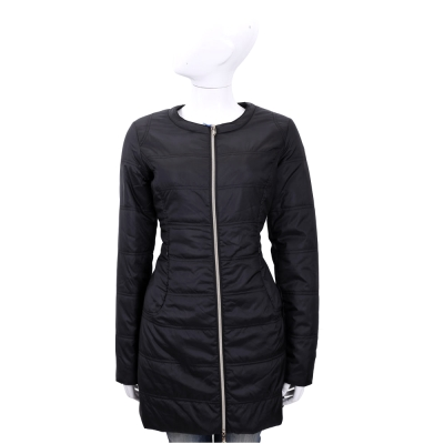 VERSACE 黑色車縫設計拉鍊長版羽絨外套