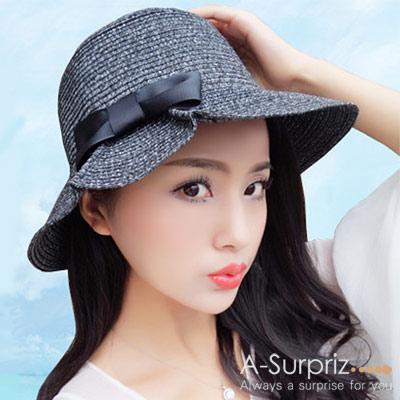 A-Surpriz 標緻蝴蝶混色折疊遮陽帽(黑灰)