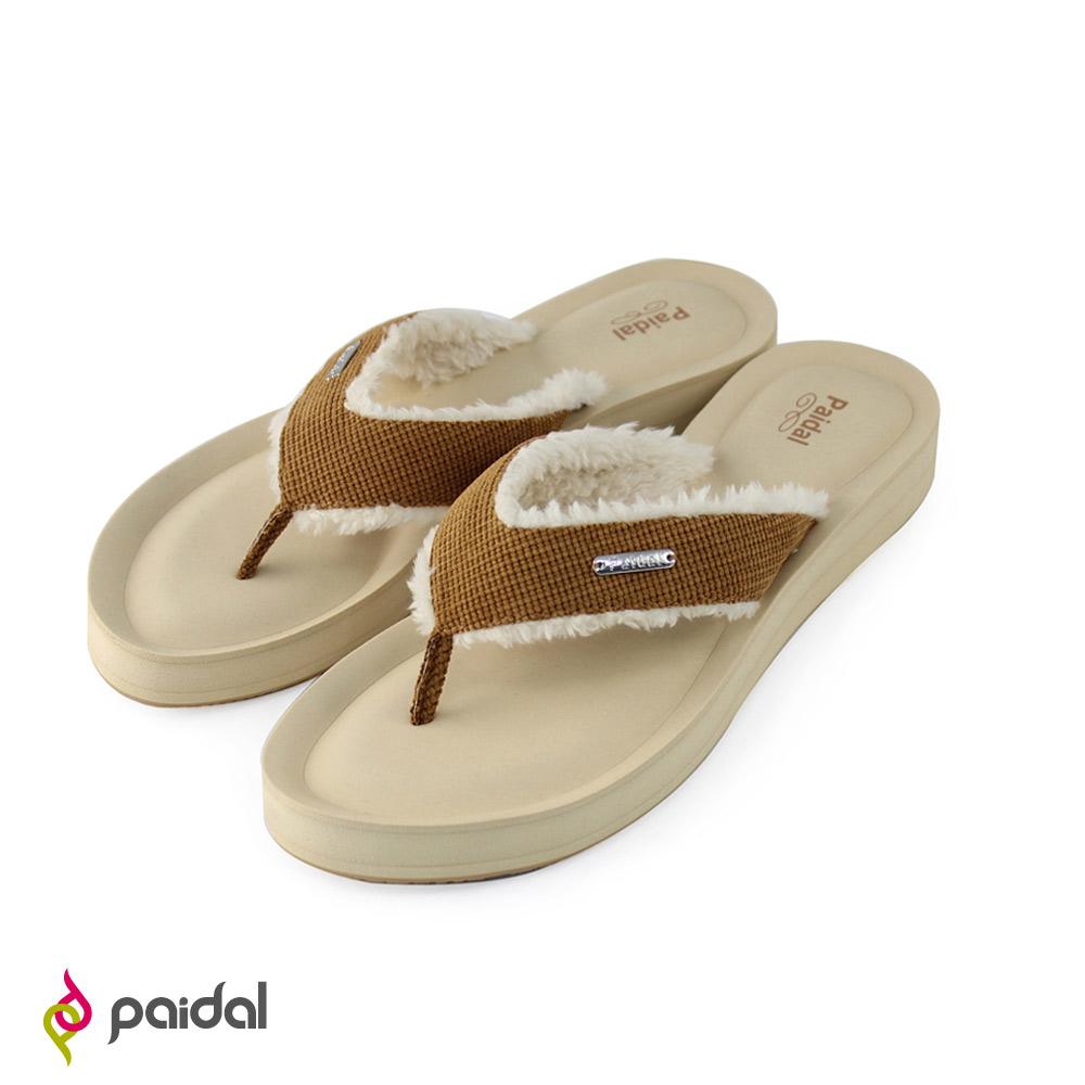 Paidal修飾美型好穿好走毛茸夾腳涼拖鞋-經典駝