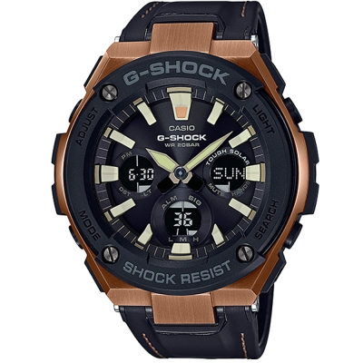 G-SHOCK創新突破分層防護絕對強悍休閒錶(GST-S120L-1)黑皮革52.4mm