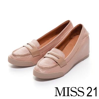MISS-21-優雅氛圍CANDY牛皮飾帶楔形坡跟