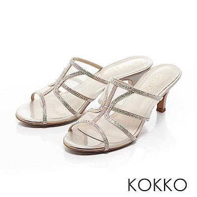 KOKKO - 性感透膚網紗璀璨魚口跟鞋-香檳金