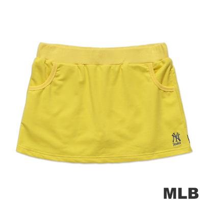 MLB-紐約洋基隊繡印花休閒短裙-淺黃-女