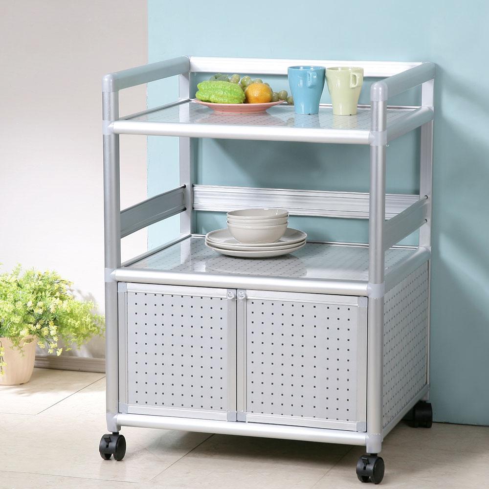 Homelike 鋁合金2尺二門收納櫃-黑花格-64x51x84cm