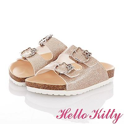 HelloKitty 俏麗金蔥輕便減壓吸震腳床型拖鞋童鞋-金