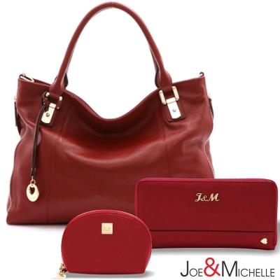 J-M-真皮伊芙琳拼接吊飾包夾組-酒漾紅