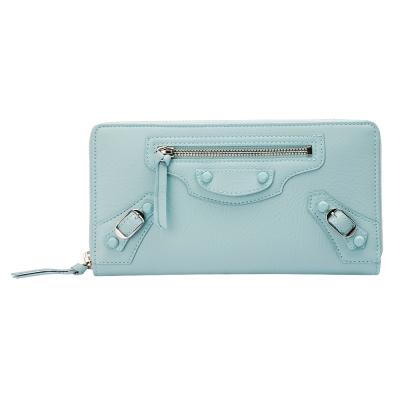 BALENCIAGA 巴黎世家CONTINENTAL小橡膠釦山羊皮拉鍊長夾(粉藍色) @ Y!購物