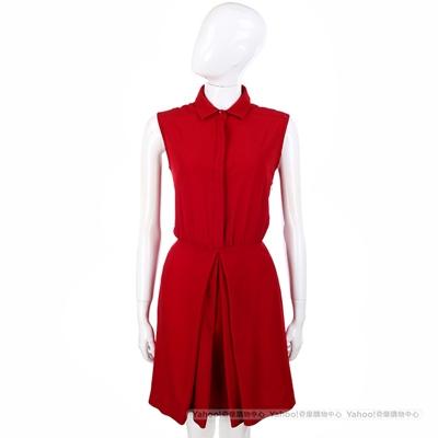 Max Mara-SPORTMAX 紅色抓褶設計無袖洋裝