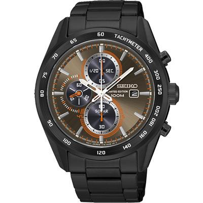 SEIKO Criteria太陽能三眼計時腕錶(SSC415P1)-咖啡/43mm