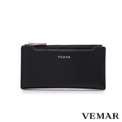 VEMAR優雅迴旋多夾層插卡長夾-經典黑