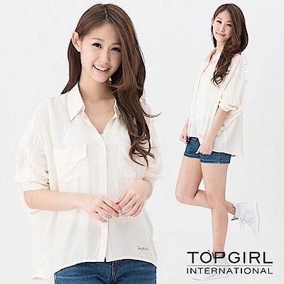 【TOP GIRL】胸前口袋造型襯衫-米白