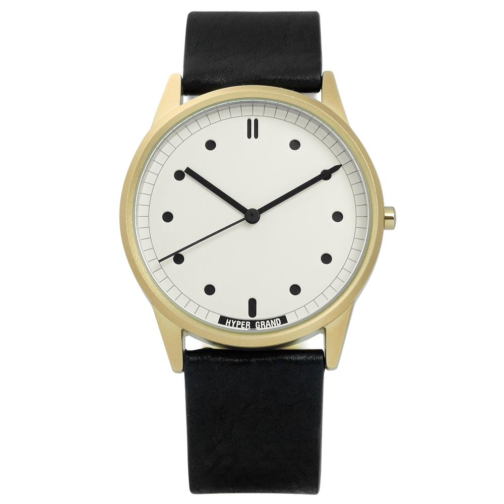 HyperGrand Classic Black工業風真皮手錶-米白x金框x黑/38mm