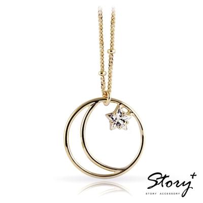 STORY故事銀飾-永恆星月-純銀項鍊(黃K金)