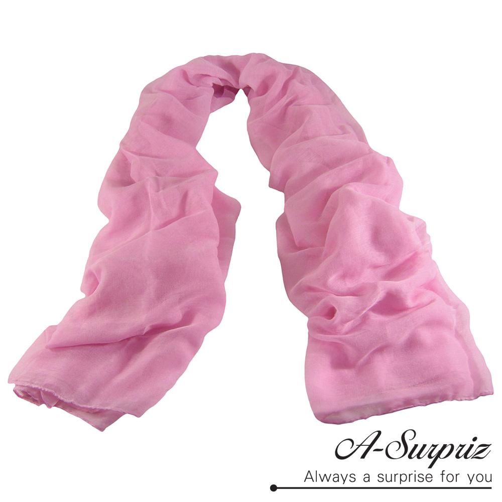 A-Surpriz 經典加大糖果色巴黎紗圍巾(粉)