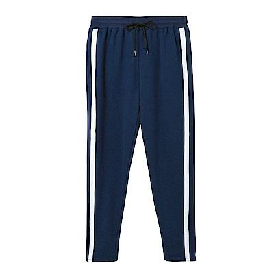 抽繩綁帶線條滾邊休閒棉質運動褲-OB大尺碼