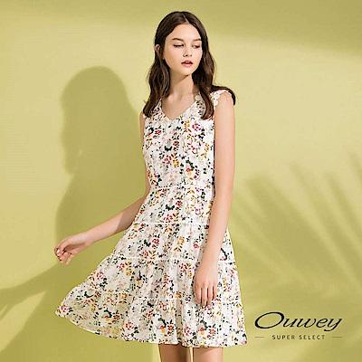 OUWEY歐薇 小清新蕾絲拼接層次感碎花洋裝(白)