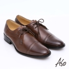 A.S.O 舒活系列 全真皮奈米雙色綁帶紳士鞋 咖啡色