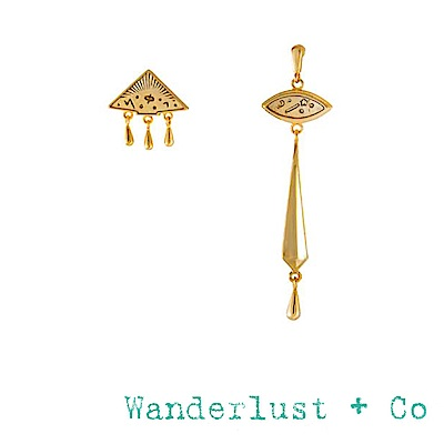 Wanderlust+Co 澳洲品牌 古典銀河星系耳環 不對稱設計垂墜式耳環 ELYSIA