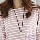 N.C21-正韓 質感圓形金屬環繩圈項鍊(金色)