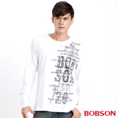 BOBSON 男款字母數字印圖長袖上衣