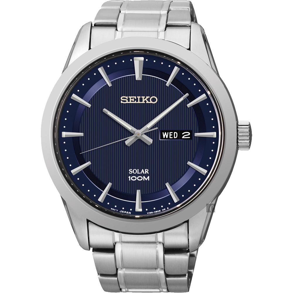 SEIKO 精工 紳士太陽能時尚腕錶(SNE361P1)-藍/44mm