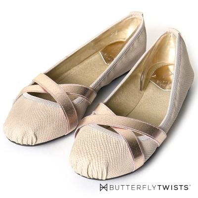 BUTTERFLY TWISTS-緞帶交叉蛇紋壓紋記憶軟墊平底鞋-裸膚