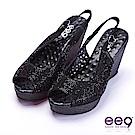ee9 經典百搭鑲嵌亮鑽鐳射鏤空魚口楔型跟涼鞋  黑色
