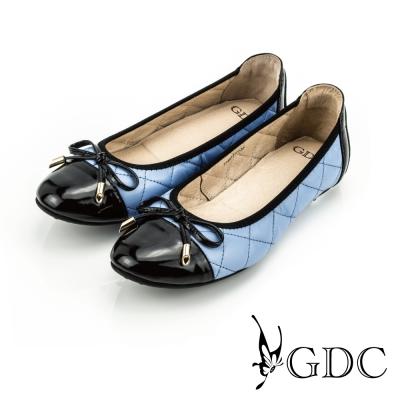 GDC-蝴蝶結漆皮菱格紋縫線造型真皮平底娃娃鞋-藍色