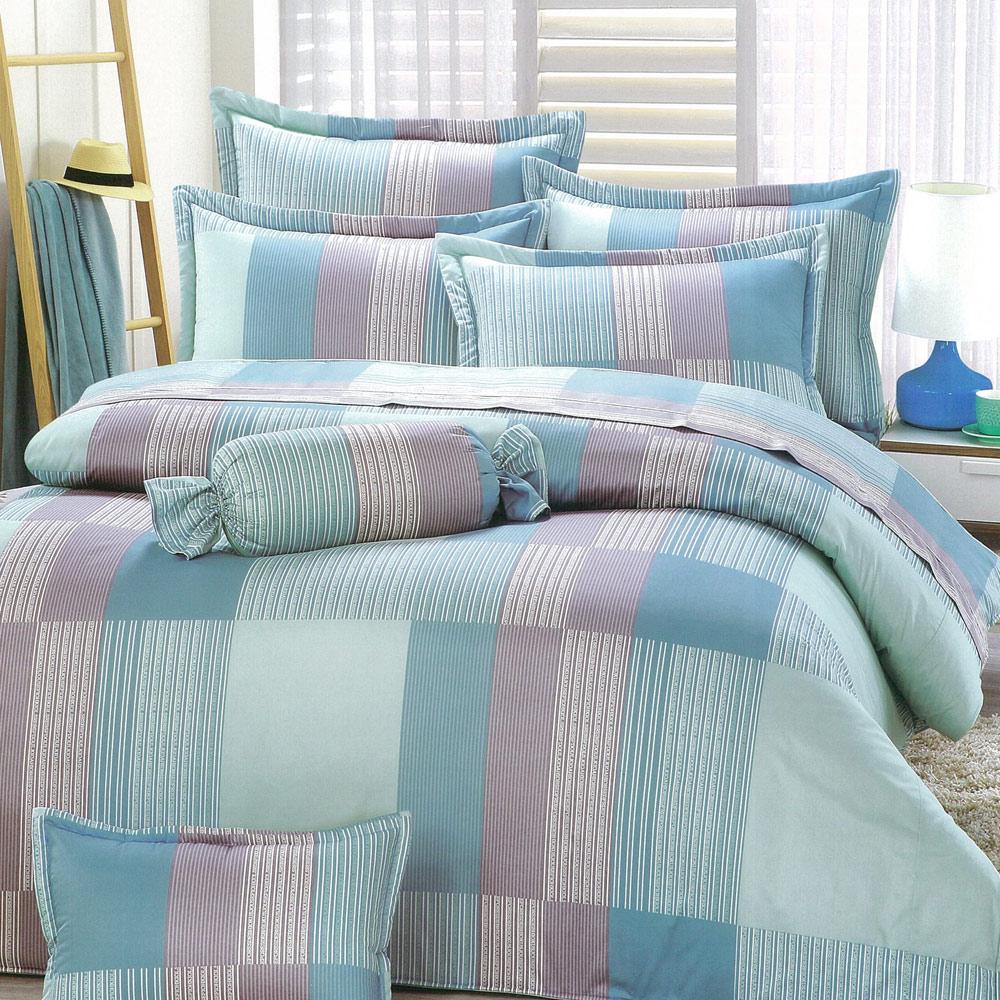 eyah宜雅 全程台灣製100%精梳純棉雙人床罩兩用被全舖棉五件組 多雨的日子