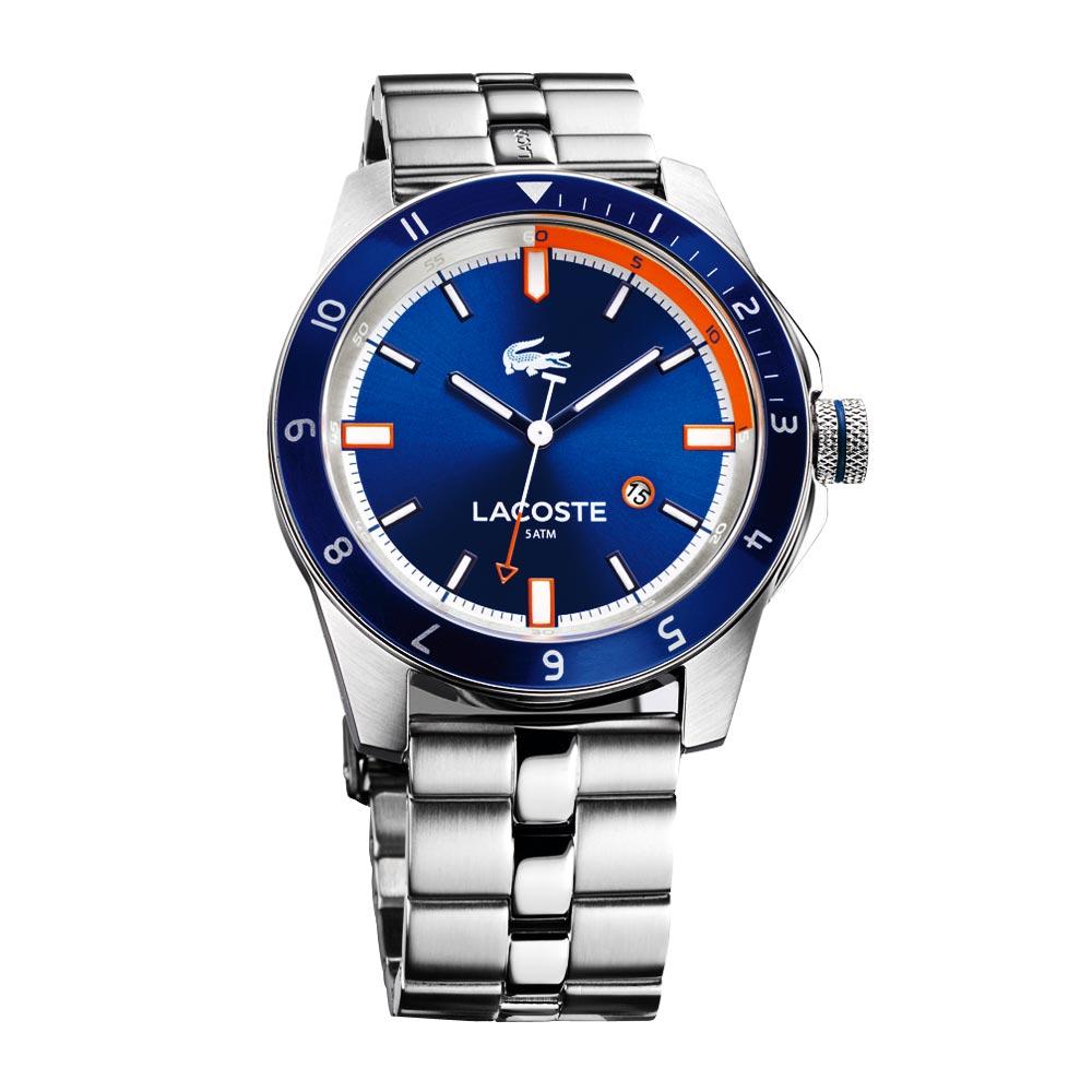 Lacoste 鱷魚 時尚玩家腕錶-藍/銀/44mm