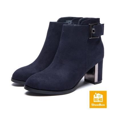鞋櫃ShoeBox-短靴-方釦布面尖頭高跟踝靴-藍