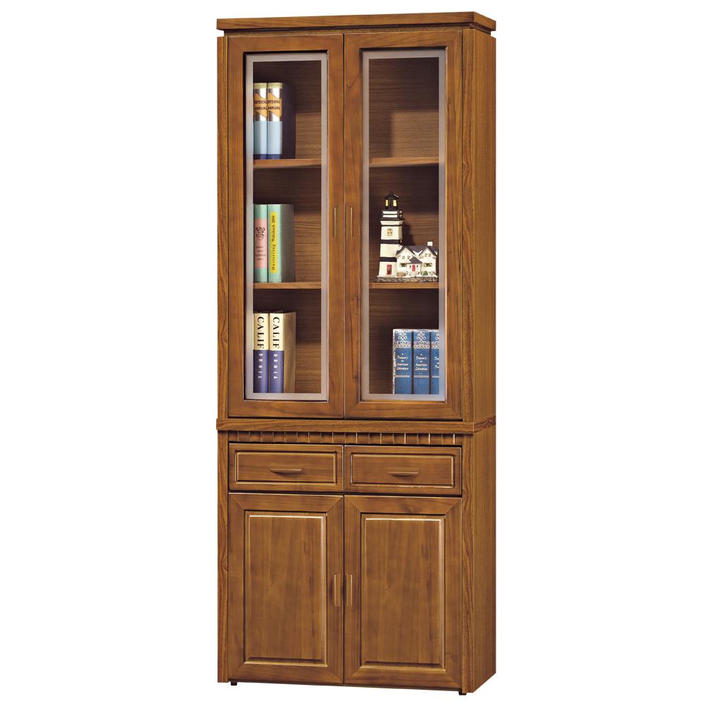 時尚屋 帕塞羅柚木色2.7尺書櫃 寬80cm