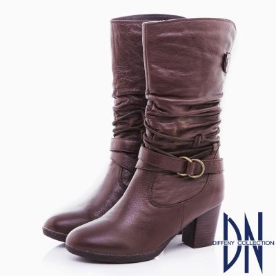 DN 都會魅力 舒適牛皮抓皺綁繩皮帶中筒靴-深咖啡