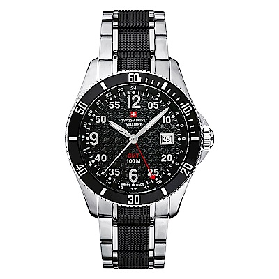 阿爾卑斯 S.A.M-獨家限定-翱翔傳奇系列-GMT/黑色錶盤/銀黑雙色鍊帶/42mm