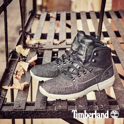 Timberland-男款黑色壓花厚領中筒休閒鞋
