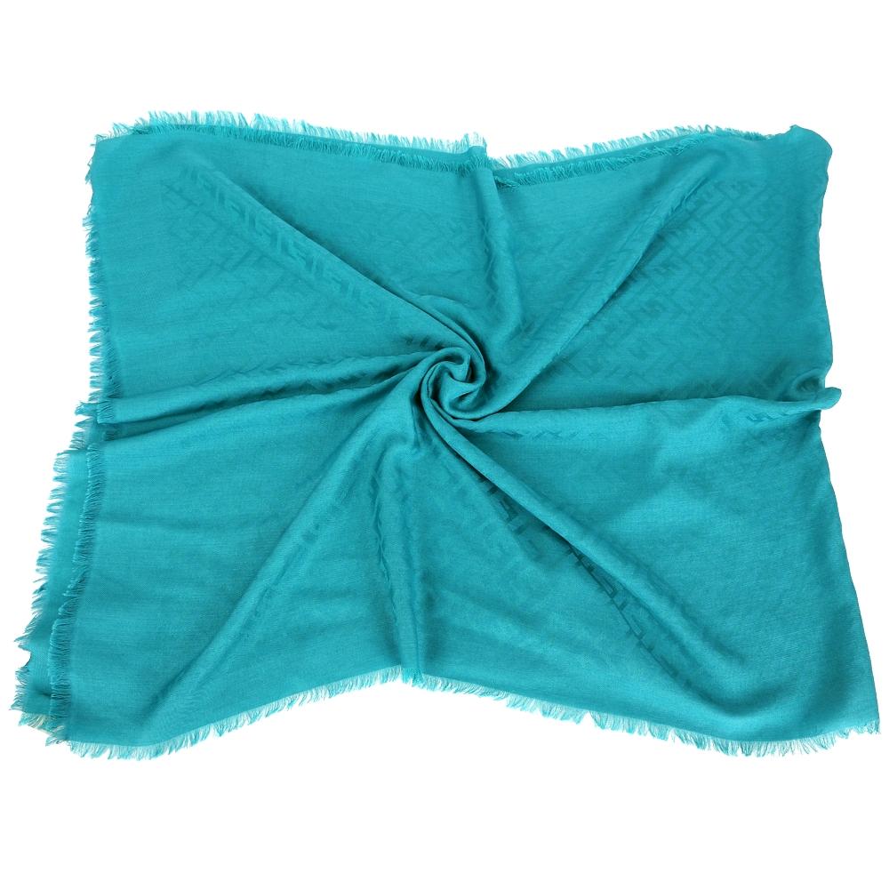 FENDI 藍綠色雙F織紋羊毛流蘇披肩(60%WOOL)