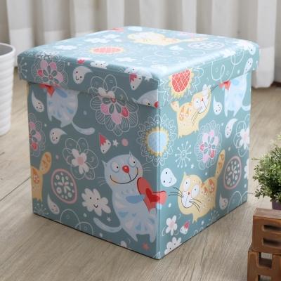 EASY HOME-耐重可摺疊收納椅凳-露西貓 (38x38x38cm)