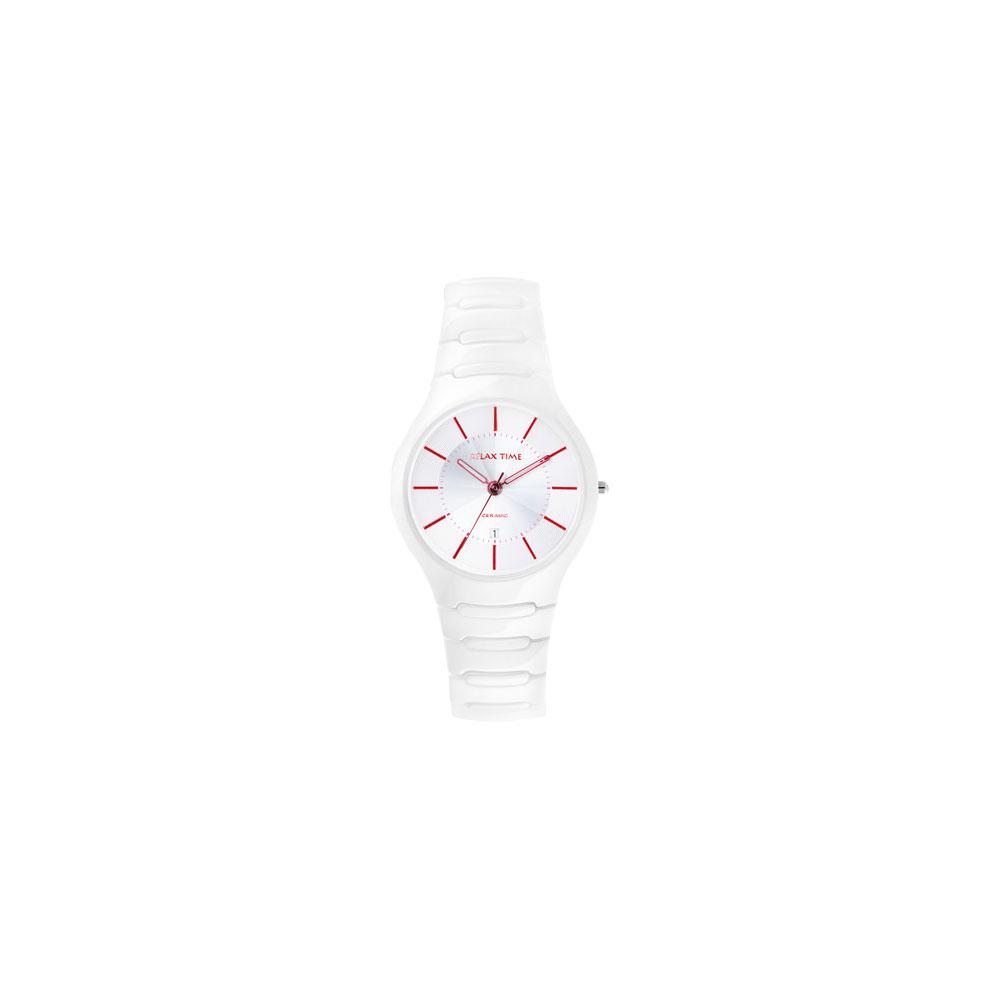 Relax Time 經典藍寶石陶瓷腕錶-白x紅時標/37mm