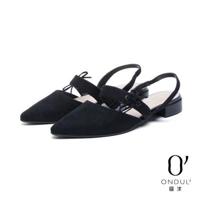 達芙妮x高圓圓 圓漾系列 平底鞋-格紋拼接後拉帶平底尖頭鞋-黑