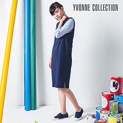 YVONNE假兩件式細絨長袖洋裝- 丈青