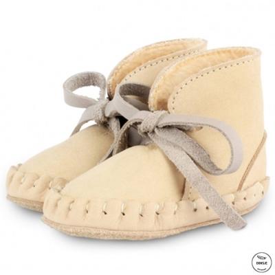 Donsje 荷蘭 杏色款內刷毛蝴蝶結真皮寶寶綁帶靴子