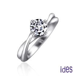 ides 愛蒂思 設計款50分E/VS2八心八箭完美車工鑽石戒指結婚戒/優雅交錯