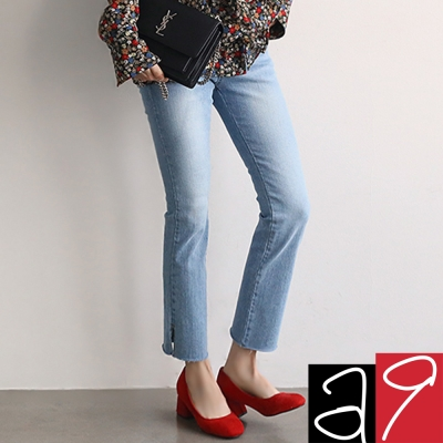 正韓-復古刷色開岔靴型長褲-水洗藍-a9