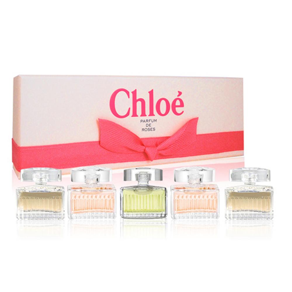 Chloe克羅埃Chloe經典粉紅緞帶女小香水禮盒5mlx5-快速到貨