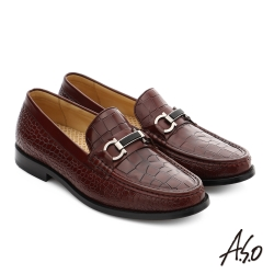 A.S.O 尊榮青紳 真皮金屬飾釦直套式紳士皮鞋 酒紅色