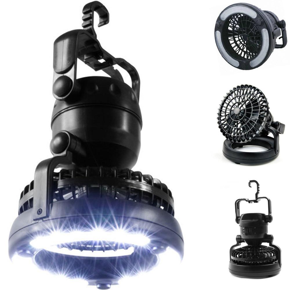 PUSH! 戶外登山休閒用品 露營桌上車內2用led露營燈電扇