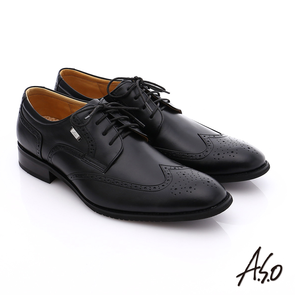 A.S.O 勁步雙核心 真皮拼接綁帶奈米牛津鞋 黑色