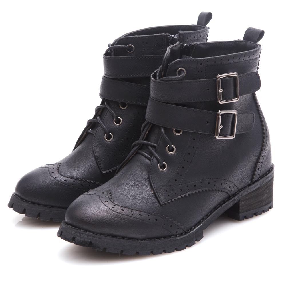 G.Ms. 英倫牛津雕花雙皮帶釦綁帶內增高內增高短靴-黑色